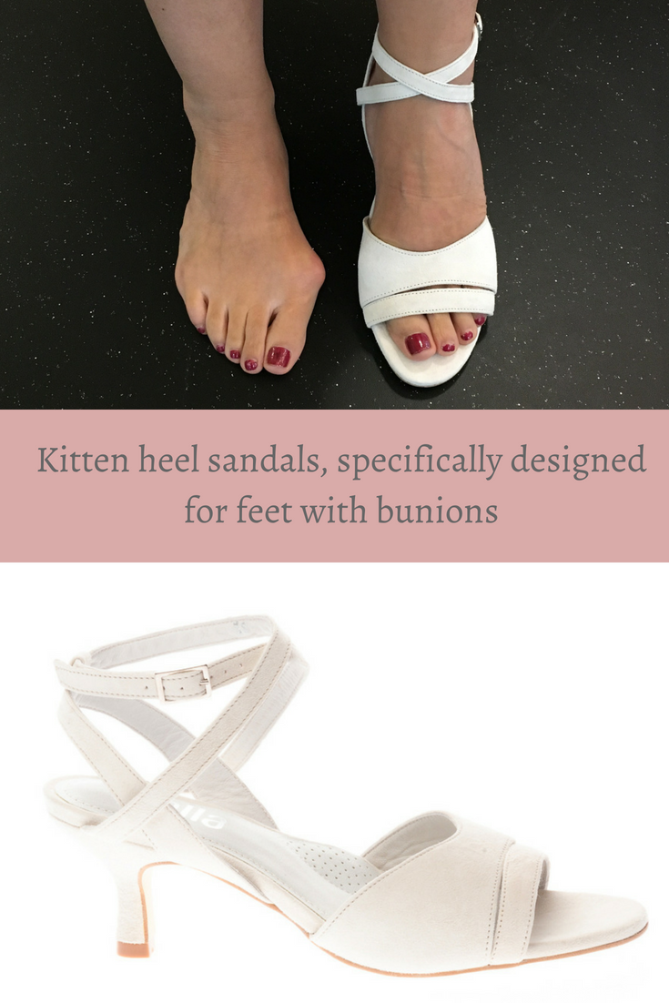 fc800e0c14d0d Sandals for bunion sufferers! This fab kitten heel sandal in cream suede  features foot-stabilising straps and is suitable for up to large bunions,  ...