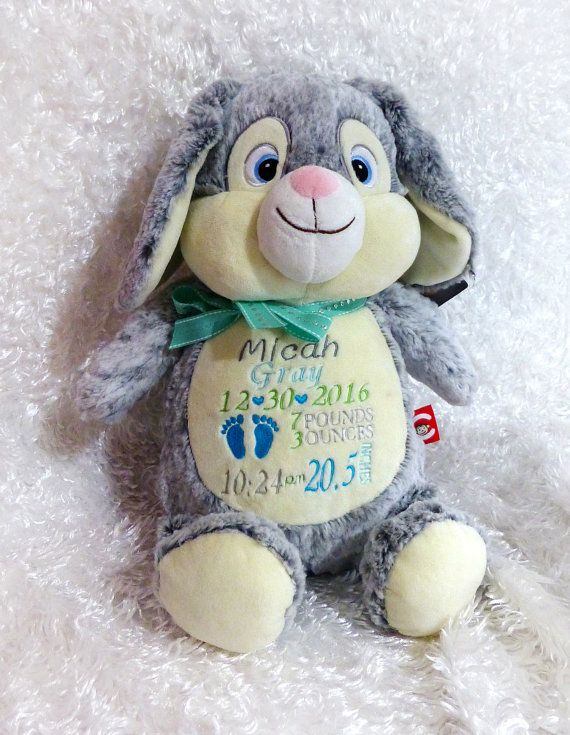 Birth Stats Stuffed Animal Rabbit Cubbies By Magicembroidery Baby