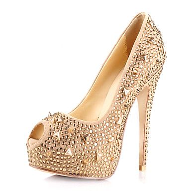 Amazing Suede Stiletto Heel Peep Toe With Rivet Pumps Party / Evening Shoes