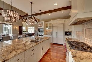 Traditional Kitchen With Stone Tile Antique Bronze 8 Light Double Round Crystal Chandelier Inset Cabinets Gl Panel