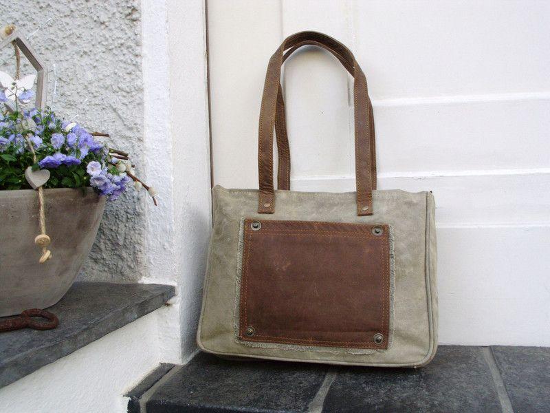 Schultertasche Umhängetasche Canvas Leder Segeltuch Recycling Tasche Vintage
