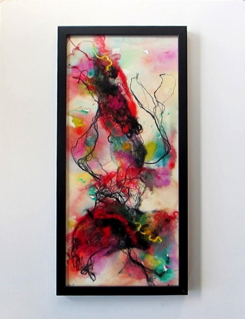 Tableau abstrait dans cadre noir la danse art for Cadre contemporain