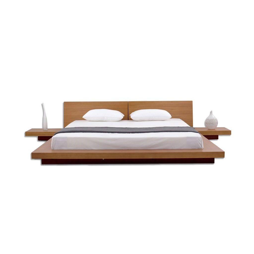 King Size Modern Japanese Style Platform Bed W Headboard 2