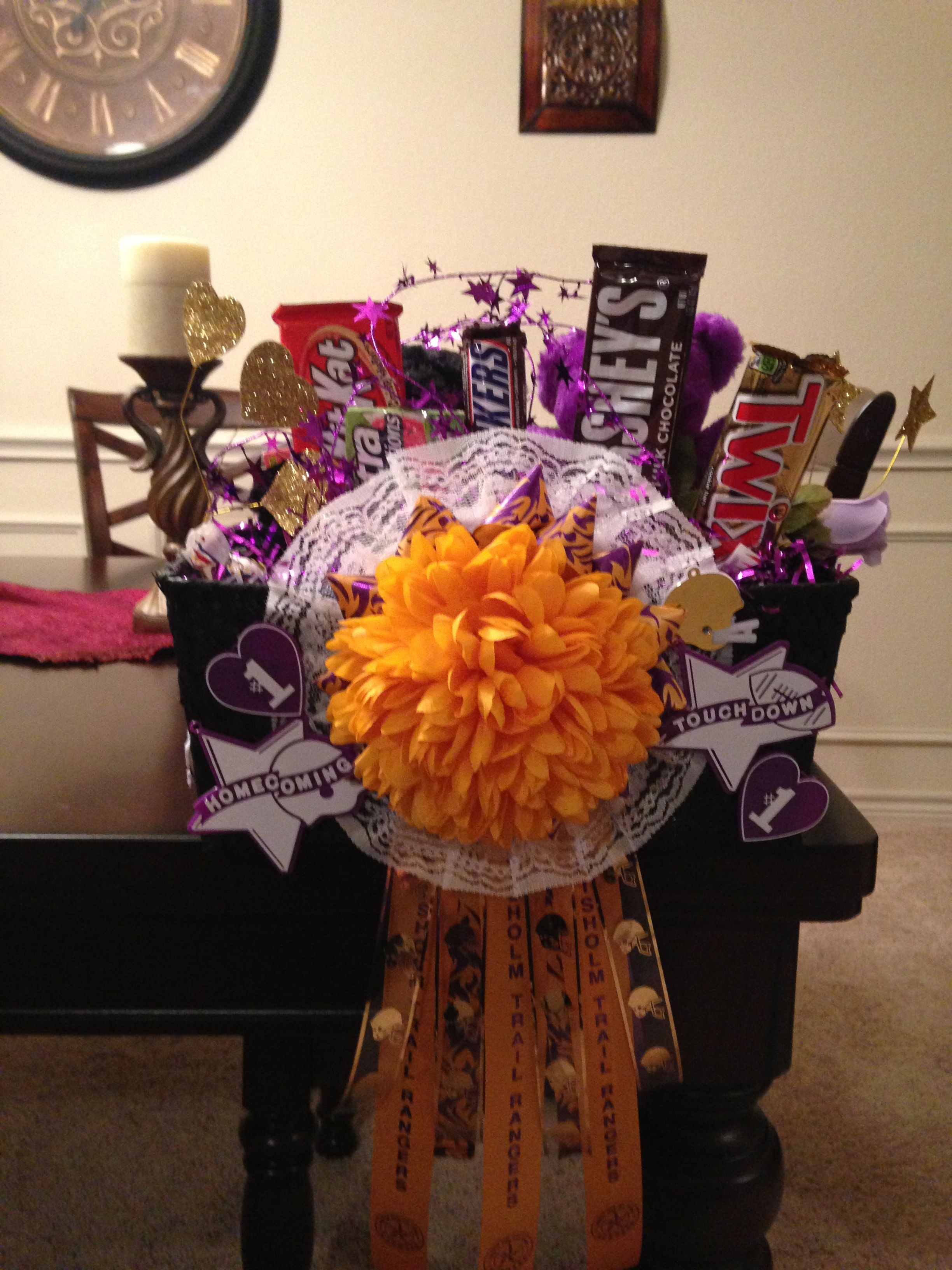 This is the candy bouquet I made for my son for homecoming.