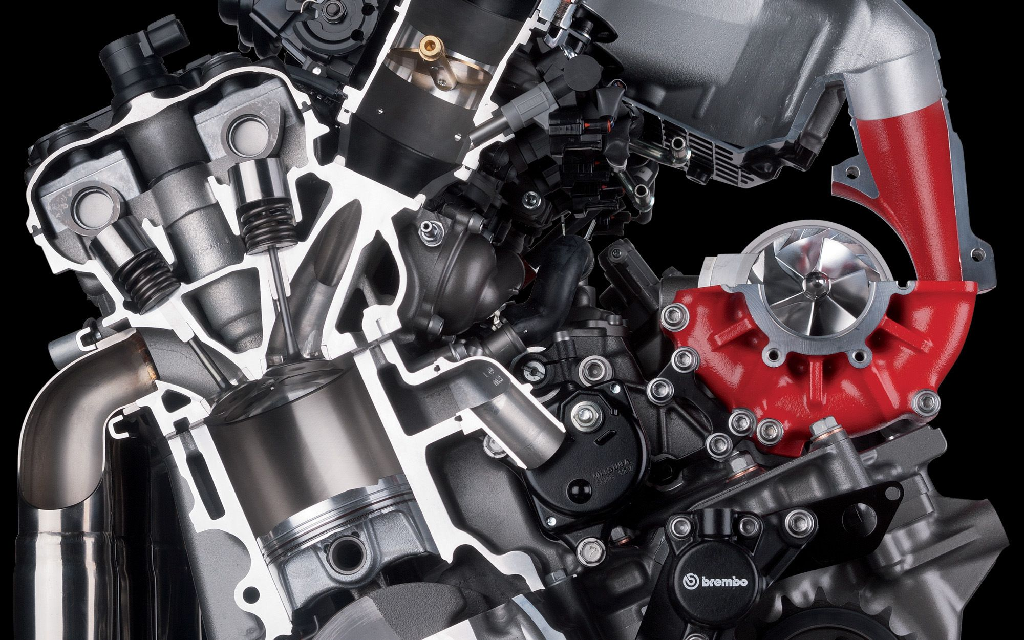 kawasaki h2 engine cutout. compressor. and a brembo part