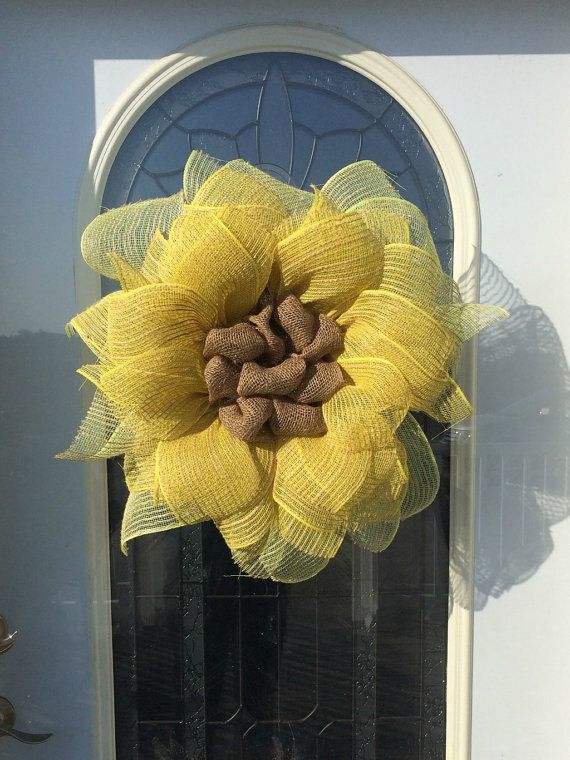 This cheery flower wreath would be the perfect gift for the sunflower lover in your life! The burlap mesh sunflower is weatherproof and can