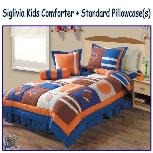 This sporty Siglivia Kids Comforter Set features an applique and embroidery detailings of basketball, football and baseball sports on a blue, white, orange, and brown color palette that will turn your boy's bedroom with a new and fresh look.