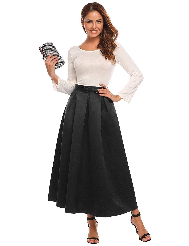 dfe17760737 Women s High Waist A-line Party Wedding Flared Maxi Skater Skirt ...