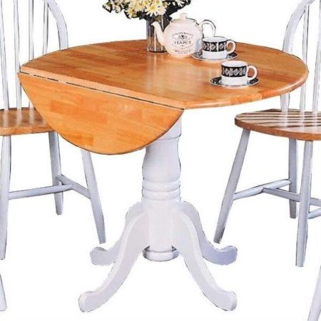 bowery hill round pedestal drop leaf dining table in natural and white walmartcom