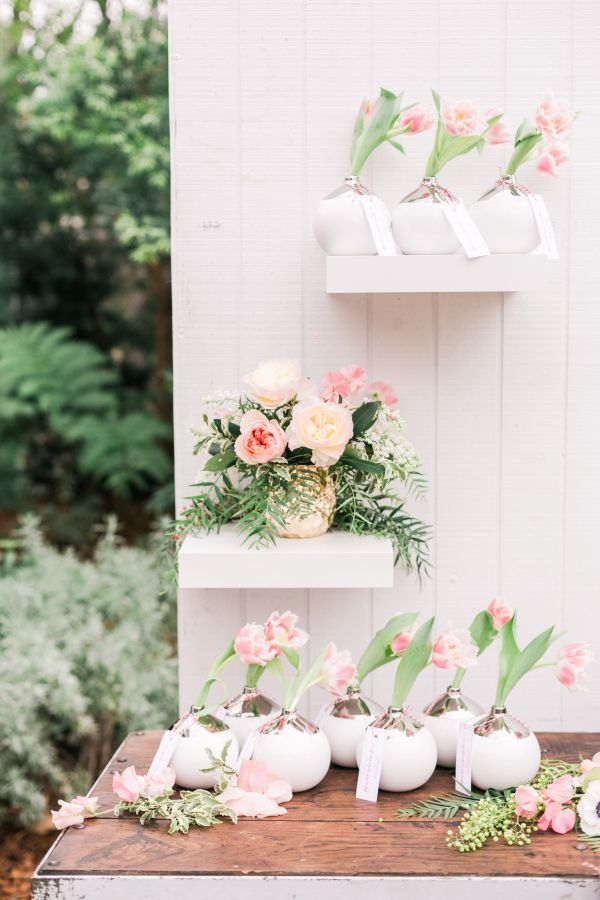 Mini flower vases: http://www.stylemepretty.com/living/2016/04/20/the-secret-to-a-killer-party-dessert/ | Photography: Valorie Darling - http://valoriedarlingphotography.com/