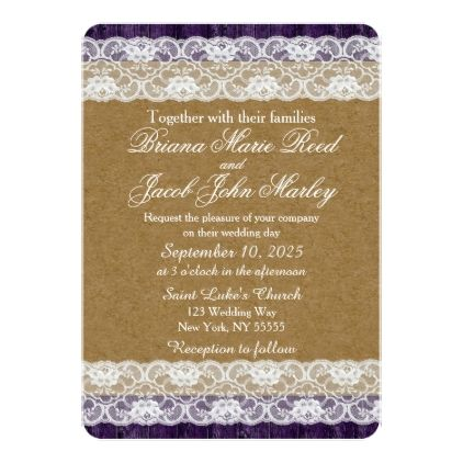 #rustic - #Rustic Wood Wedding Invitation Teacup Purple Lace