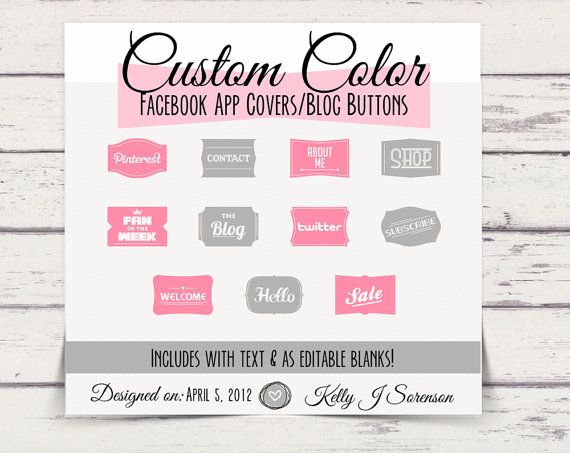 Custom Color Facebook Timeline Tab App Buttons Social