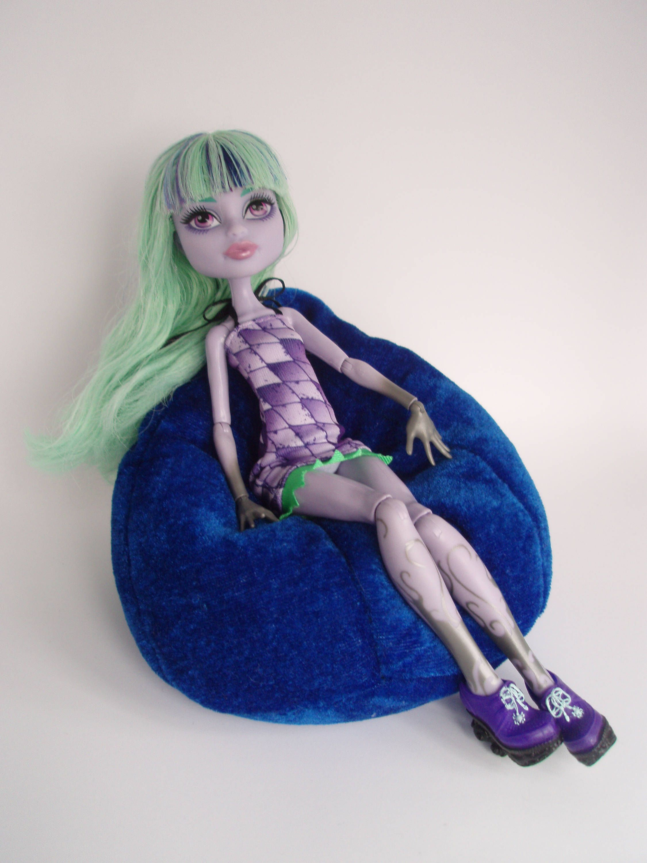 monster high bean bag chair brown living room chairs dollhouse furniture blue soft