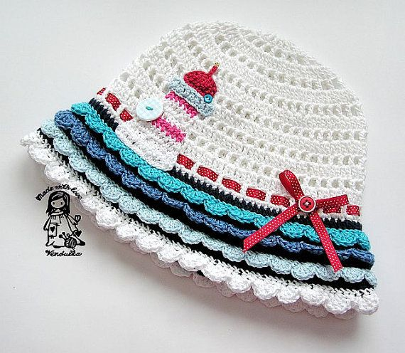 Crochet hat with lighthouse application  pdf pattern by VendulkaM, $5.30