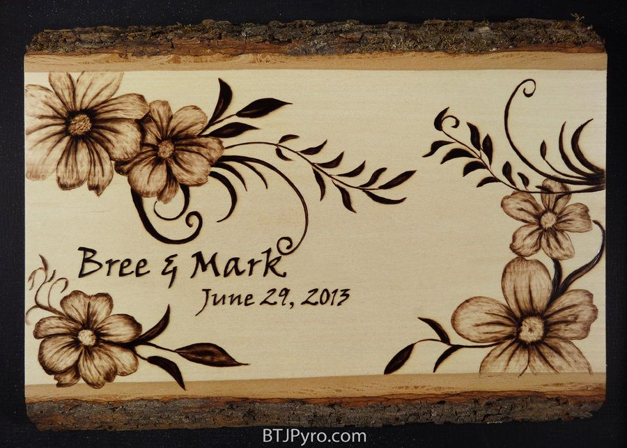 Wedding Date Woodburning By
