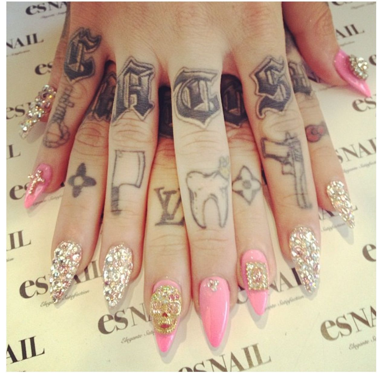 Pink and jeweled stiletto nails | Nails | Scary nails ...