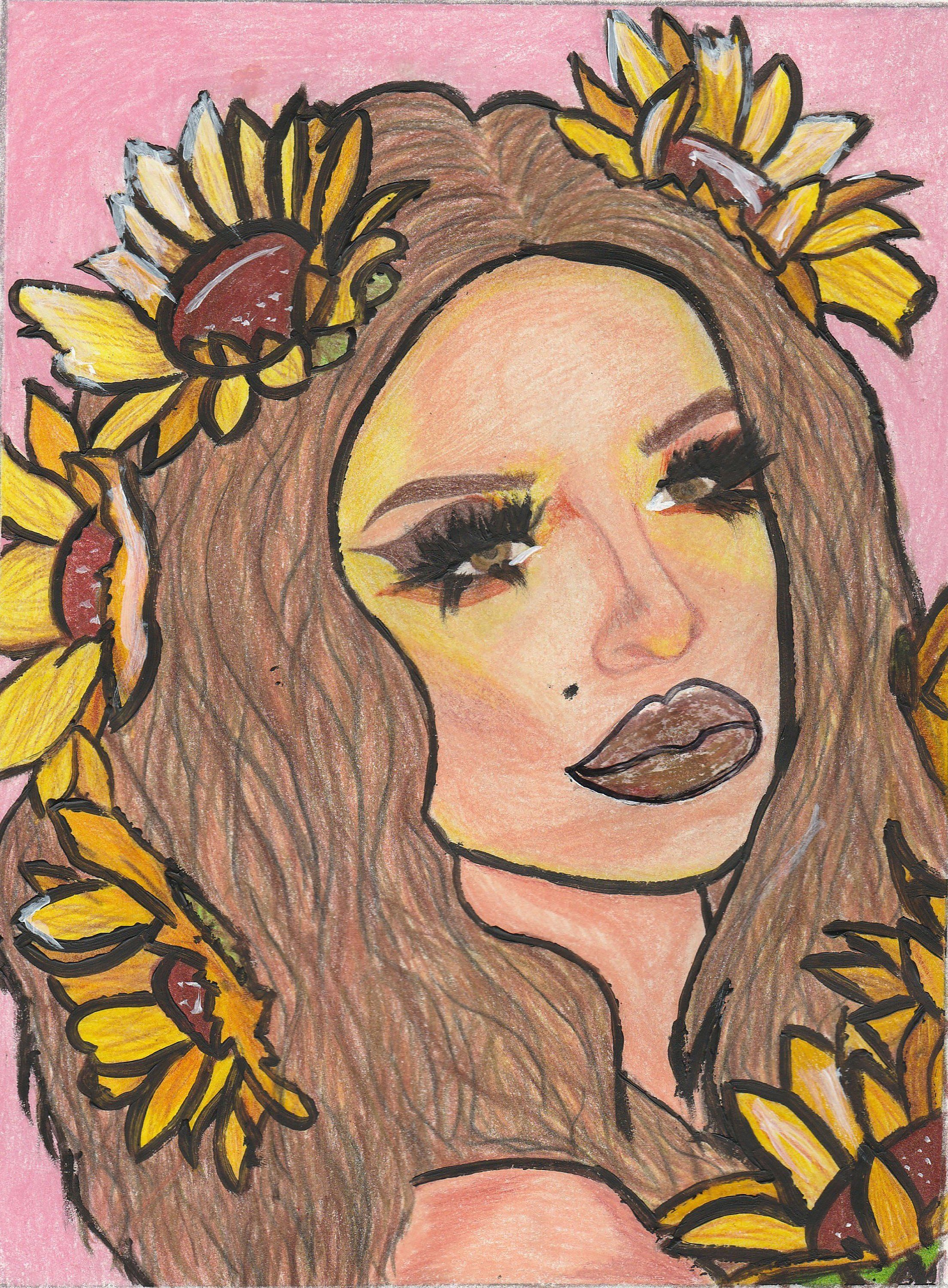 Sunflower Girl Art Print Female Garden Witch Art Print