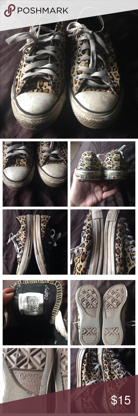 Used Leopard converse size 7 Men's size 5, women's size 7. These are used, however there's no rips or odors. The white parts of the shoe are very dirty, I'm sure you can remove with a good wipe down, I just don't wear them anymore Converse Shoes Sneakers