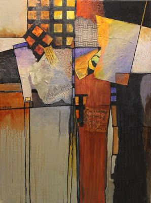 """Abstract Artists International: Mixed Media Abstract Collage, """"Billboard 6"""" © Carol Nelson Fine Art"""