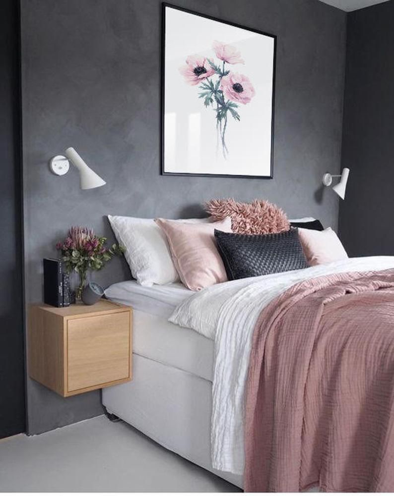 Pink Anemones Watercolor Print Home Wall Art Flower Print Office Wall Decor Bedroom Wall Decor Botanical Poster In 2020 Simple Bedroom Home Decor Bedroom Gold Bedroom Decor