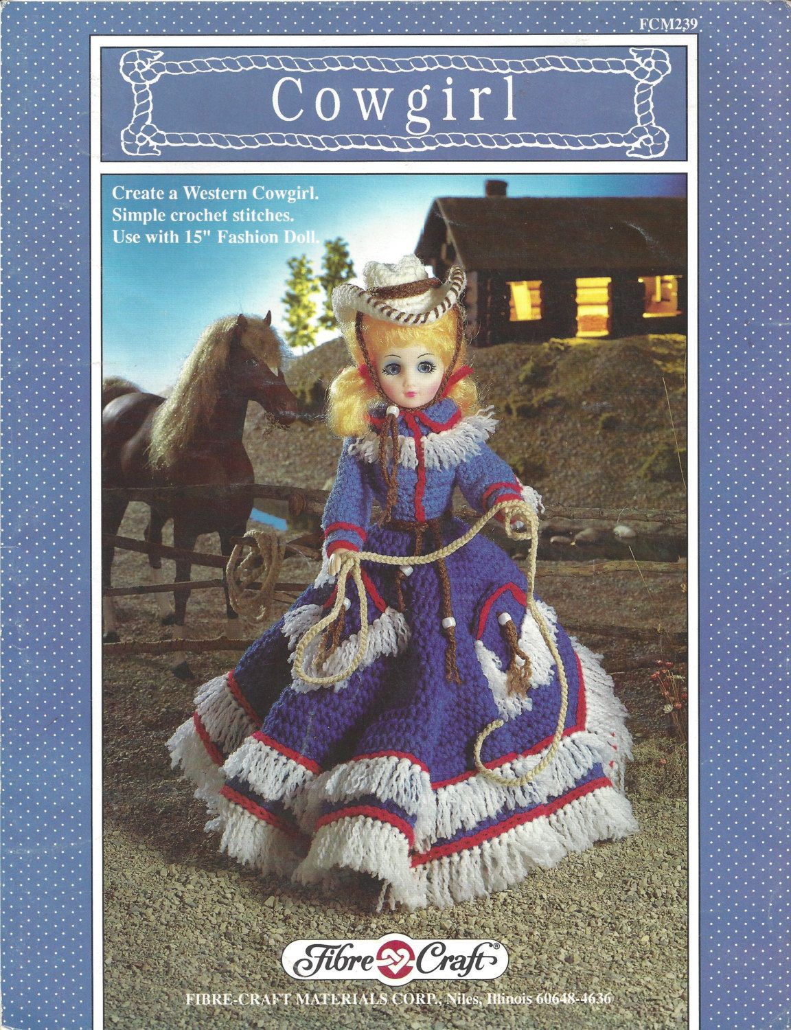 "Vintage Cowgirl Crochet Pattern for 15"" Fashion Doll by CrochetCouch on Etsy"