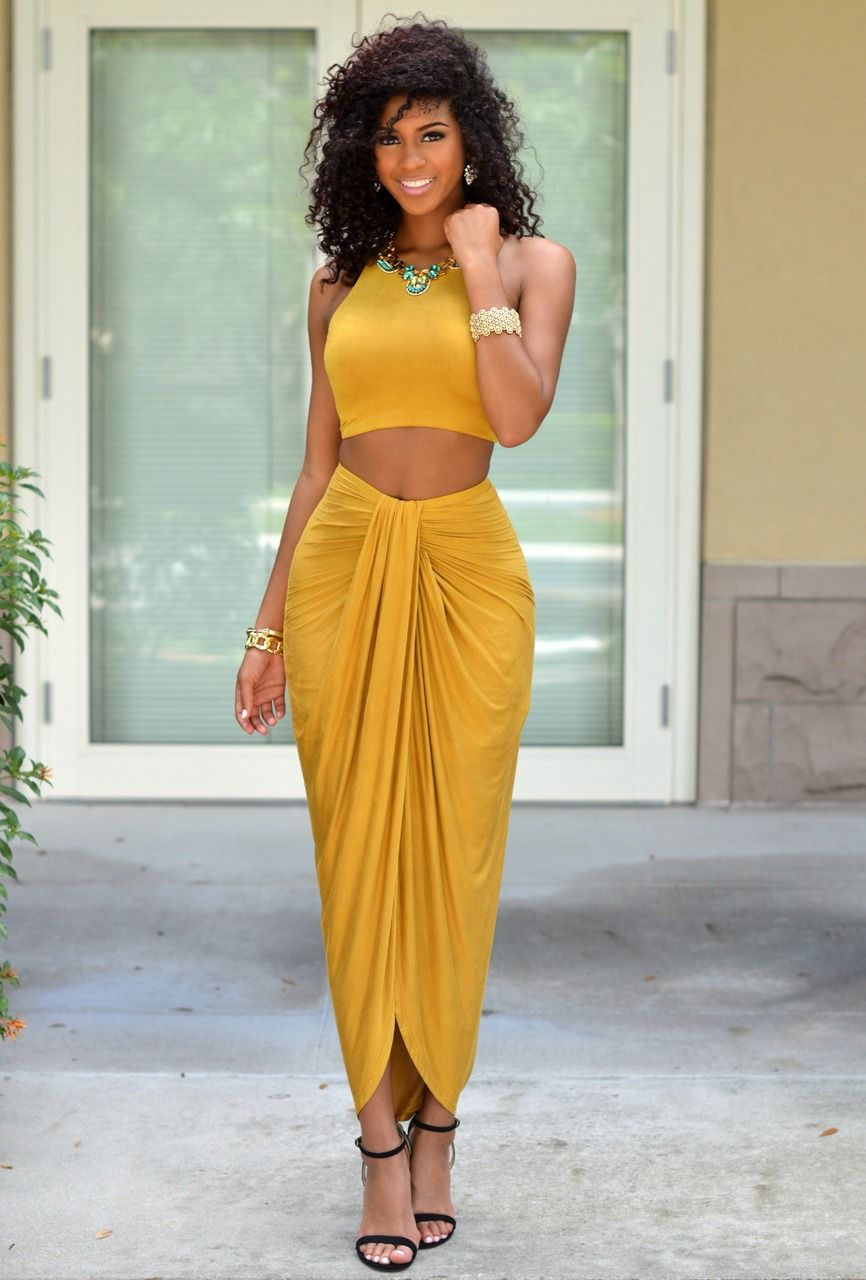 21f82d321bd9f Chic Couture Online - Valerie Mustard Yellow Draped Two Piece Set ...