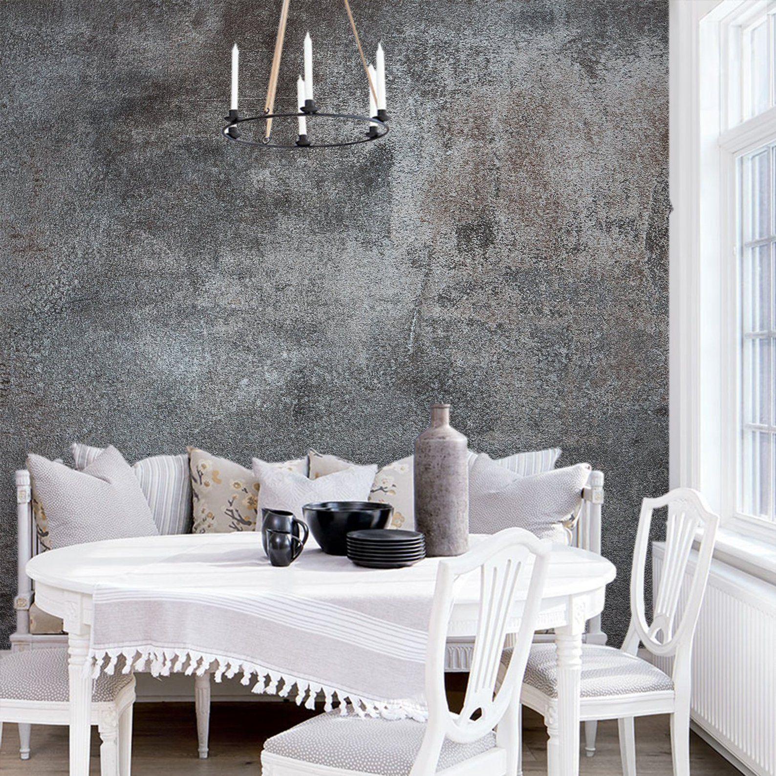 Dark Gray Grunge Wall Mural Peel And Stick Wallpaper Black Etsy White Decor Black And White Decor Cement Walls