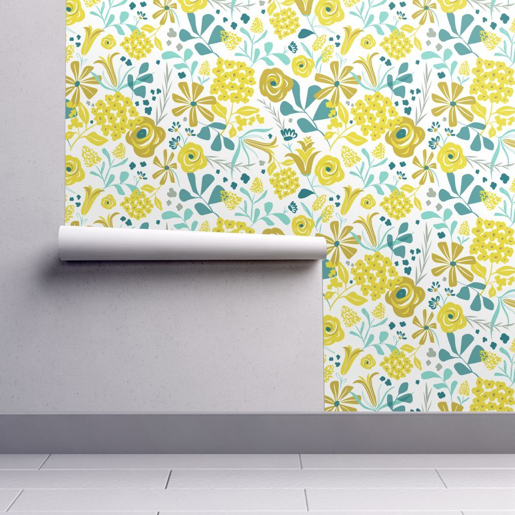Wallpaper Darcy Modern Floral Mustard Yellow Teal Self
