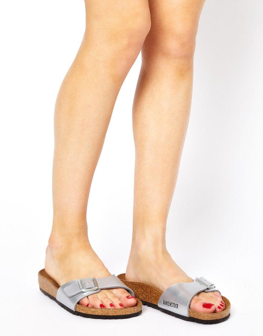 46fd46c7940c Birkenstock Madrid Silver Flat Sandals in Silver