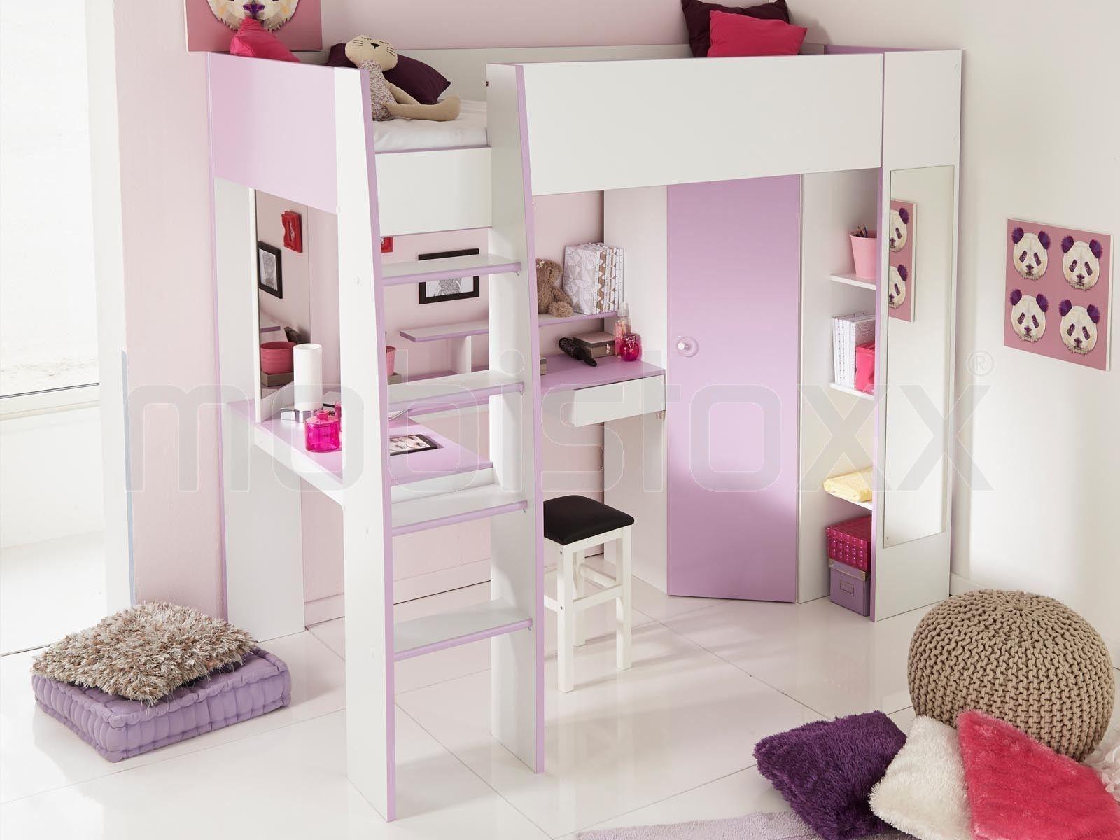 Lit Sureleve Mirza 90x200 Cm Blanc Rose 1 Lit Mezzanine Bed Home Decor