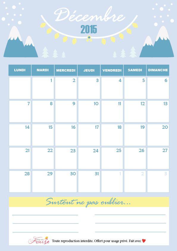 Calendrier diy d cembre 2015 free printable printable for Calendrier jardin mars 2016