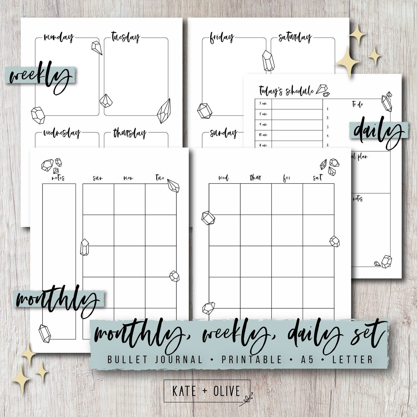 Bullet Journal Printable Planner Set with Monthly Weekly | Etsy