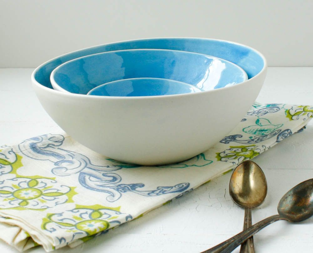 Cerulean Nesting Bowl Set by SuiteOneStudio on Etsy. $88.00 USD, via Etsy. (from Greensboro, NC!)
