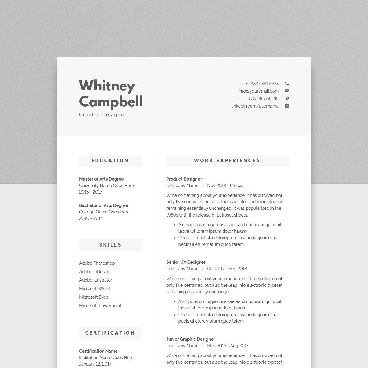Clean Resume + Cover Letter + References 02 MS Word File