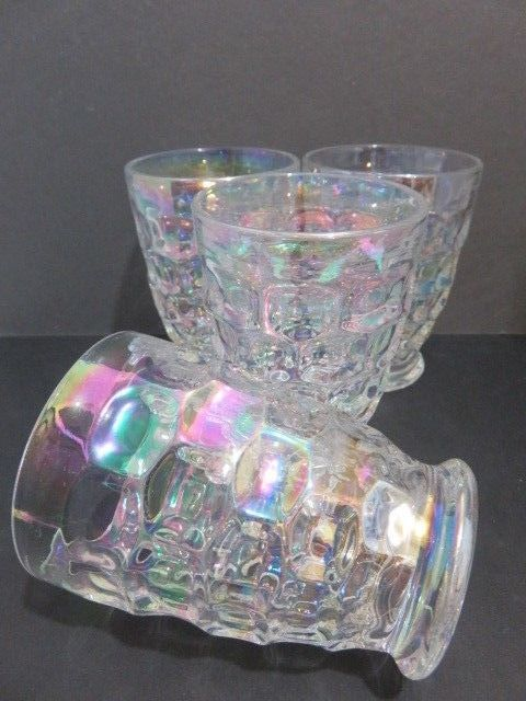 f1421781ca4 Vintage 4 Federal Glass Yorktown Iridescent Clear Thumbprint Tumbler Juice  Glass