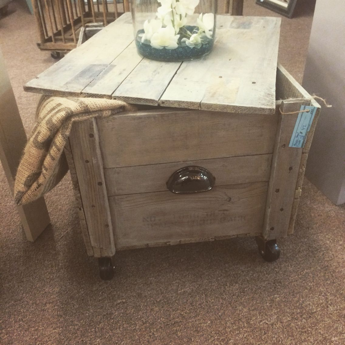 Acme Steel Co Wooden Crate Cart. Driftwood stained, casters and cup handle added.