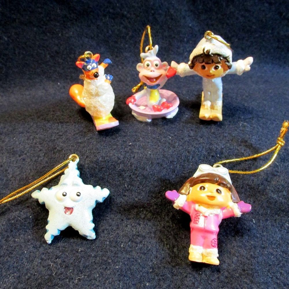 Dora The Explorer Christmas Ornaments Set 5 Mini Resin Kurt Adler