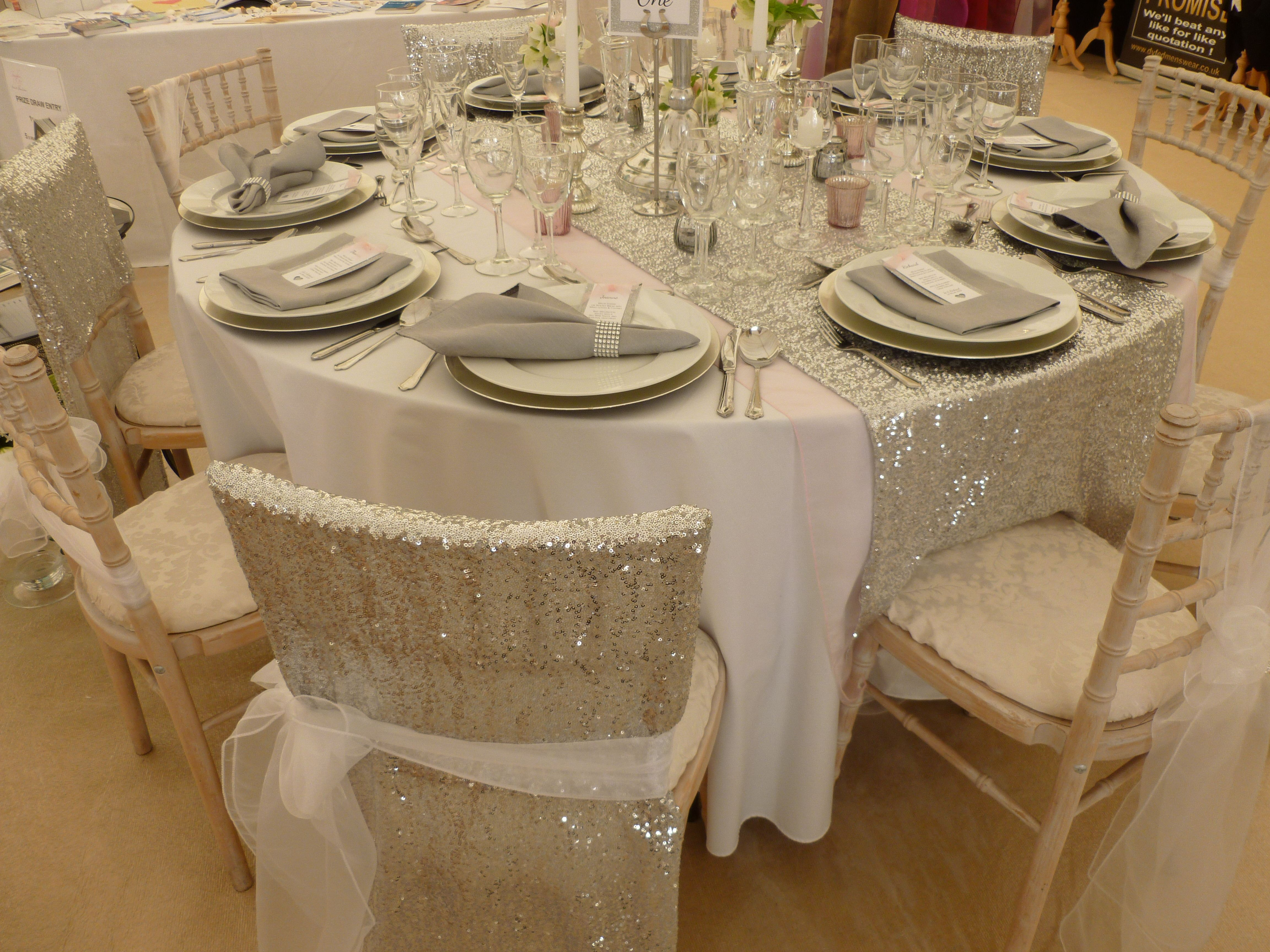 sequin chair covers uk white spandex veils and table runner designed supplied by simply bows www simplybowsandchaircovers co