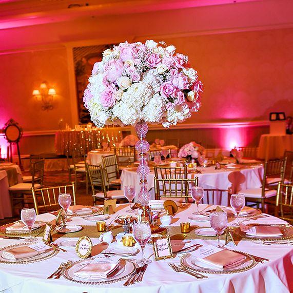 Feminine Pink And Gold Wedding Reception Decor At Disney's