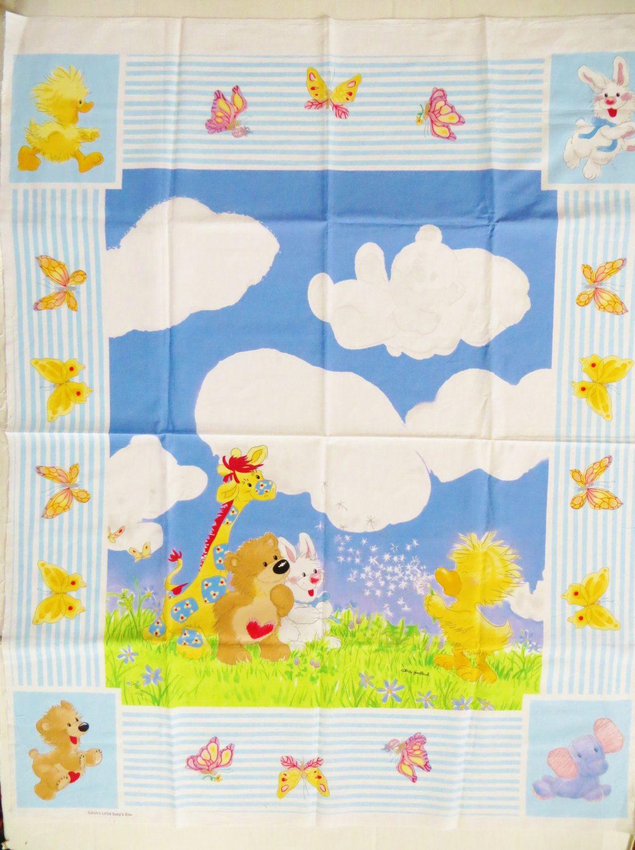 Suzy S Zoo Cotton Quilt Fabric Panel Spafford Crib Top Bear Giraffe Bunny Animal Print Nursery Decor Wall By Catbazaar On