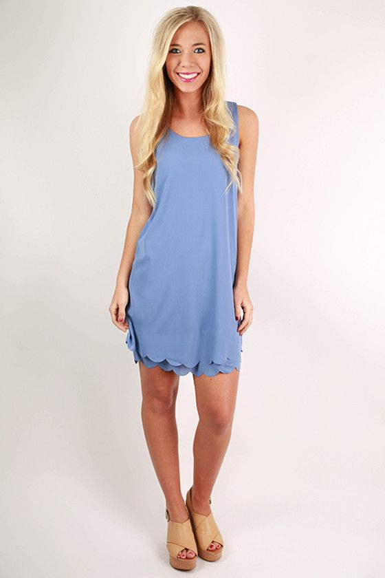 Sweet For Soho Scallop Shift Dress in Periwinkle