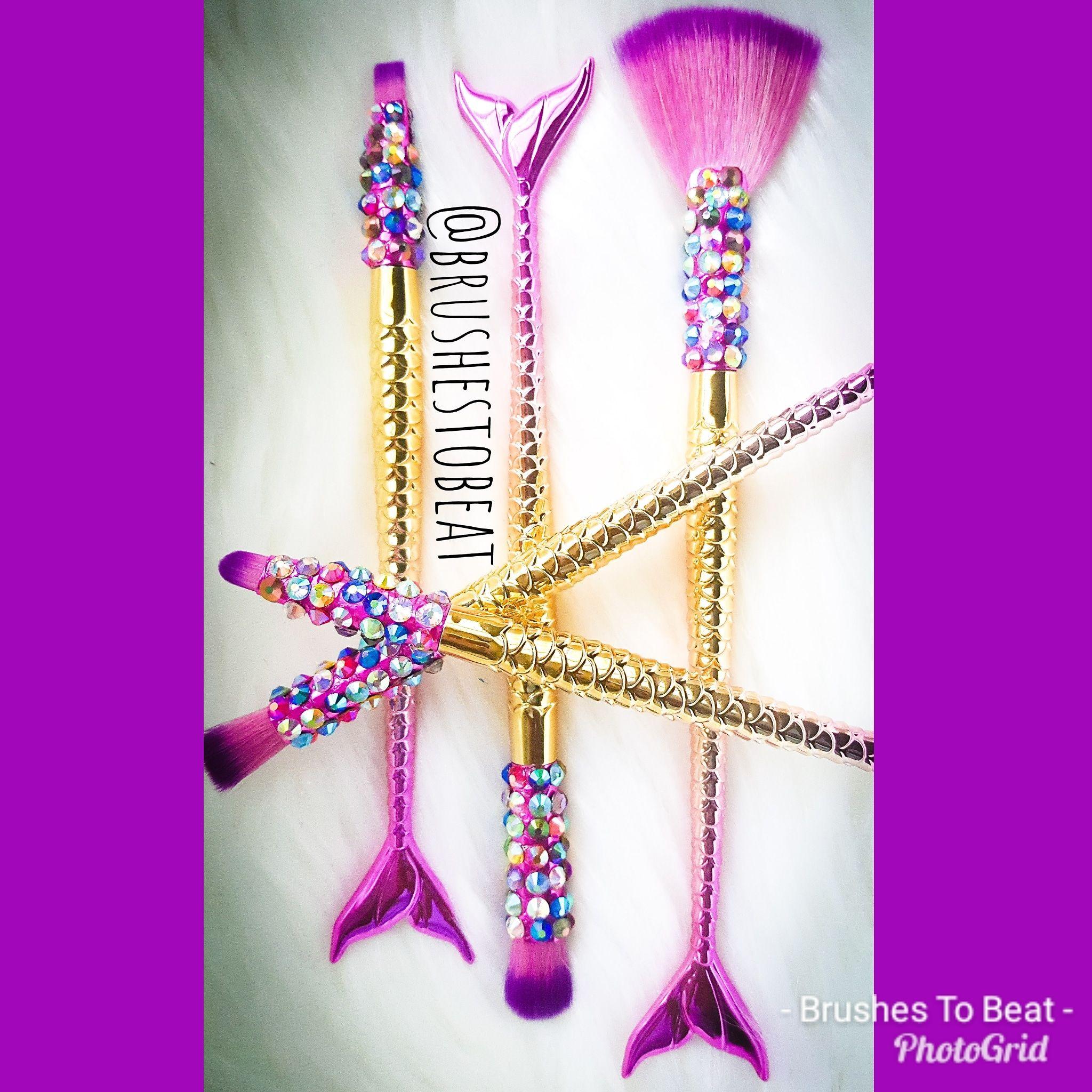 Rainbow Crystal Pink & Gold Mermaid Tail 5 piece Makeup