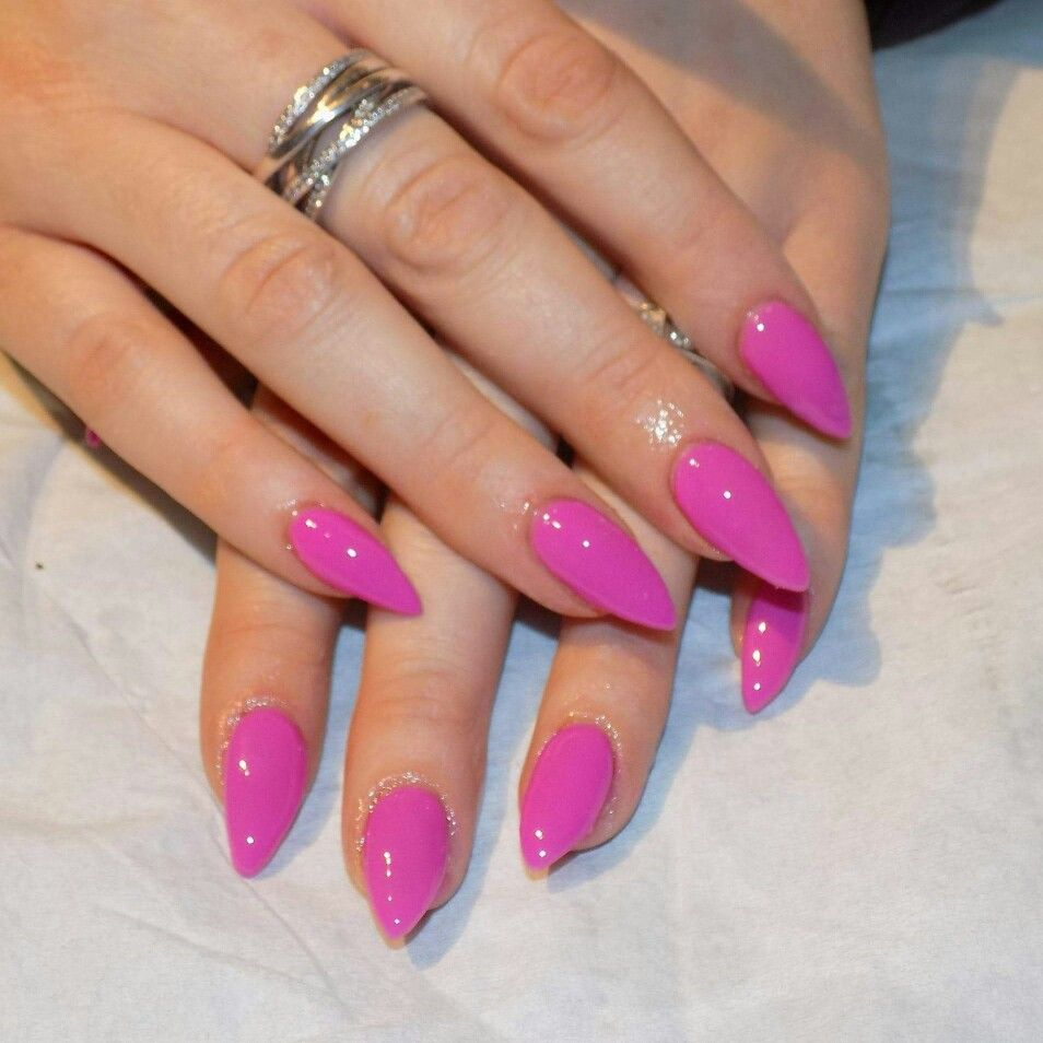 Neon pink gel Polish over acrylic nails (glow in the dark) from ...