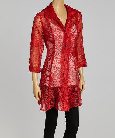 Another great find on #zulily! Red Sheer Abstract Jacket - Women & Plus by Seven Karat #zulilyfinds