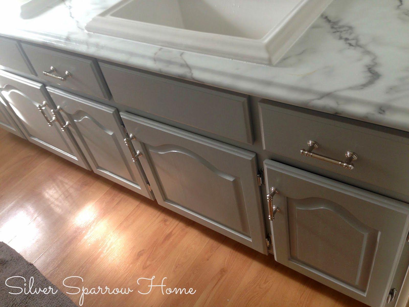 Our DIY bathroom renovation painted vanity Martha Stewart