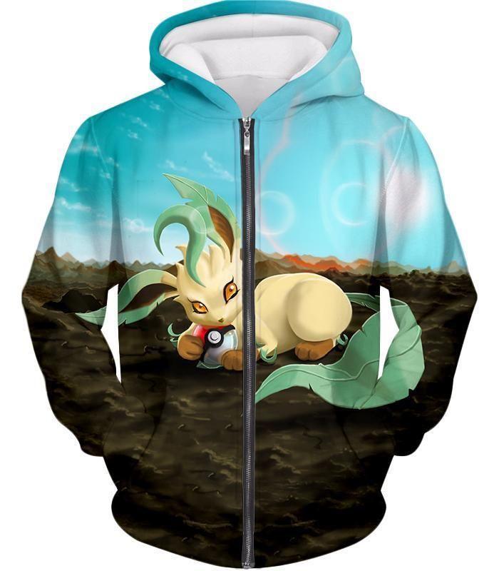 Photo of Pokemon Hoodie – Pokemon Very Cute Wolf Grass Type Pokemon Leafeon Cool Hoodie – Zip Up Hoodie / XL