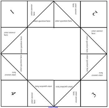 Create a Own Fortune Teller / Cootie Catcher ELA Origami fortune