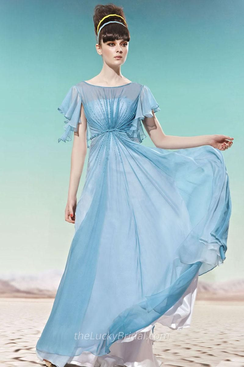 Light Blue Chiffon Long Gowns