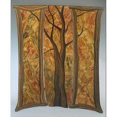 Grant Noren creates this artistic, Tree Folding Screen. Hand painted and lacquered faux finish room dividers-screens. The artworks by Ingela Noren and Daniel Grant are hand painted on wood. As taught by an old master in Stockholm, they first apply an under layer of sealing stain or paint. They then mix pigment with a milk-based glaze and apply it using brushes, combs, sponges, fists and fingers! At the end a final varnish is applied to protect the work and create a lovely finish. They…