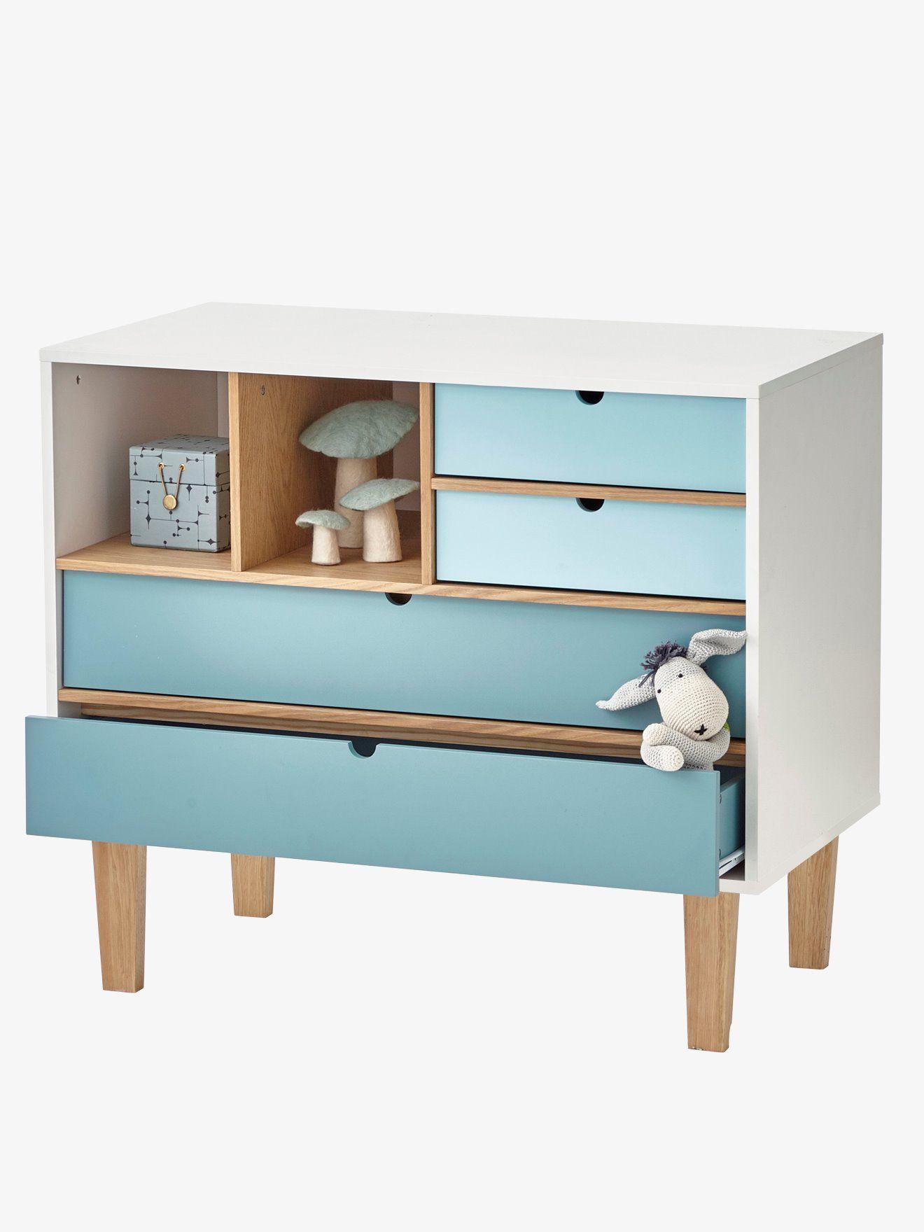 Kinderkommode Schrank 3 Schubladen Stauraum Aufbewahrung Blau Kinderzimmer Junge